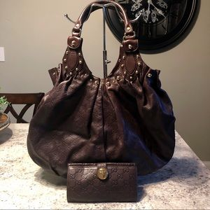 GUCCI Leather Studded Pelham Large Shoulder Bag